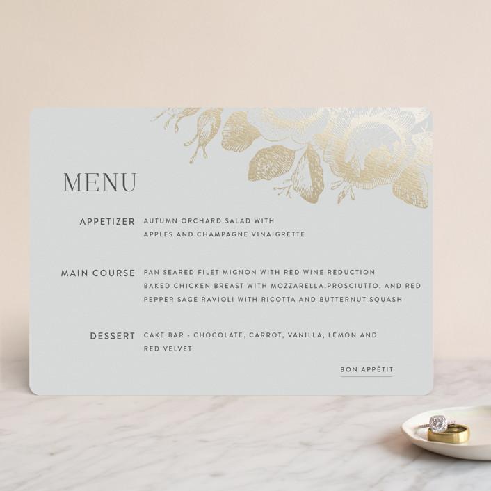 """""""Beloved"""" - Foil-pressed Menus in Mist by Design Lotus."""