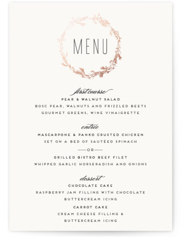 This is a portrait botanical, rosegold Menus by Carolyn Nicks called Intertwined with Foil Pressed printing on Signature in Classic Flat Card format. Give guests a sneak peek of the meal to come with a beautiful foil pressed menu, hand ...