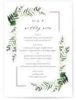 This is a pink menu card by Kristie Kern called Framed in Ferns with foil-pressed printing on signature in standard.