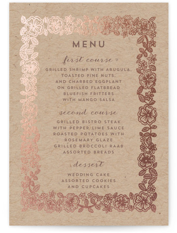 This is a portrait rustic, brown, rosegold Menus by Katharine Watson called Elisabeth Floral with Foil Pressed printing on Signature in Classic Flat Card format. This invitation uses a hand drawn floral motif to create an elegant design