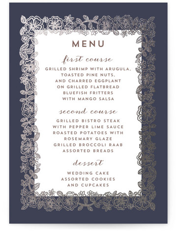This is a portrait rustic, blue, silver Menus by Katharine Watson called Elisabeth Floral with Foil Pressed printing on Signature in Classic Flat Card format. This invitation uses a hand drawn floral motif to create an elegant design