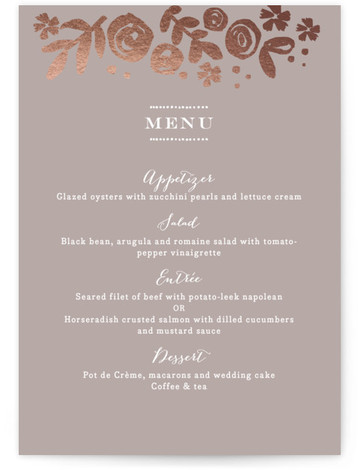 This is a portrait floral, hand drawn, rustic, grey, rosegold Menus by Jennifer Wick called Sun Bleached Florals with Foil Pressed printing on Signature in Classic Flat Card format. Hand painted florals on a striking black background.