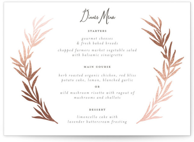 This is a landscape modern, rustic, rosegold Menus by Wildfield Paper Co. called Wild Wreath with Foil Pressed printing on Signature in Classic Flat Card format. Give guests a sneak peek of the meal to come with a beautiful foil ...