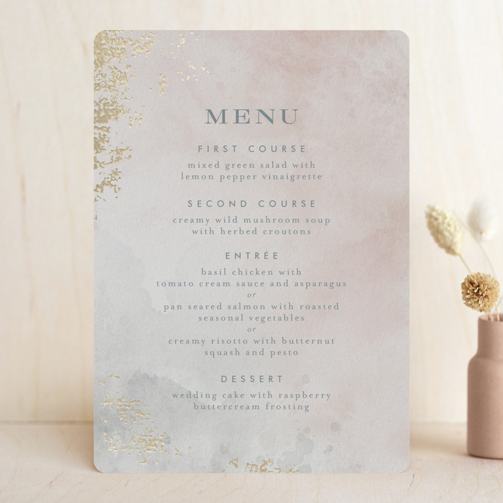 """Burnished"" - Foil-pressed Menus in Blush by Heather Cairl."
