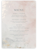 This is a pink menu card by Heather Cairl called Burnished with foil-pressed printing on signature in standard.