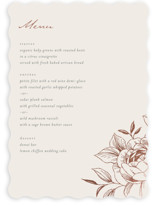 This is a beige menu card by Stardust Design Studio called Lovely with foil-pressed printing on signature in standard.