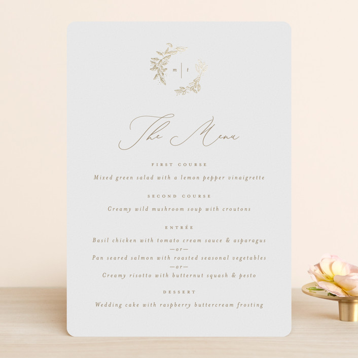 """""""Reflection"""" - Rustic Foil-pressed Menus in Porcelain by Leah Bisch."""