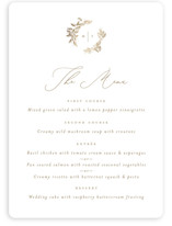 This is a white menu card by Leah Bisch called Reflection with foil-pressed printing on signature in standard.