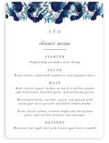 This is a blue menu card by Olivia Raufman called Splendid Ink with foil-pressed printing on signature in standard.