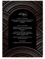 This is a black menu card by Erica Krystek called Curvilinear with foil-pressed printing on signature in standard.