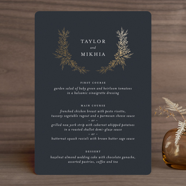 """""""etched wreath"""" - Foil-pressed Menus in Inkwell by Jennifer Postorino."""