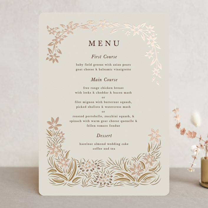 """""""In the country"""" - Rustic Foil-pressed Menus in Chestnut by Paper Sun Studio."""