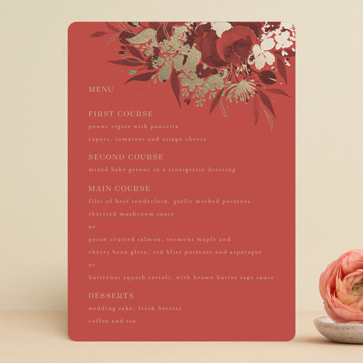 """""""Happiness"""" - Foil-pressed Menus in Cherry by Shannon Chen."""