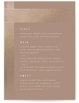 This is a brown menu card by Kristie Kern called Cordelle with foil-pressed printing on signature in standard.