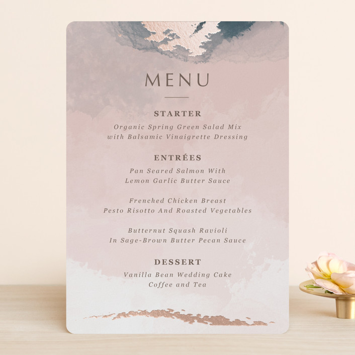 """""""Watercolor Sunset"""" - Foil-pressed Menus in Sunset Rose by Stellax Creative."""