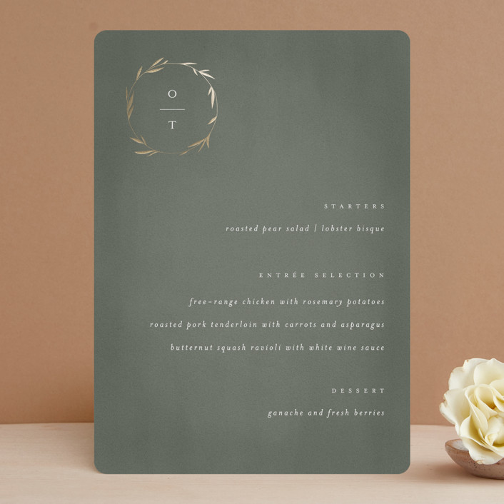 """Minimal Circle"" - Foil-pressed Menus in Moss by Kelly Schmidt."