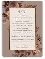 This is a brown menu card by Everett Paper Goods called Blooms with foil-pressed printing on signature in standard.