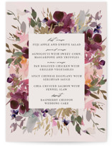 This is a pink menu card by Lori Wemple called Fleur with foil-pressed printing on signature in standard.