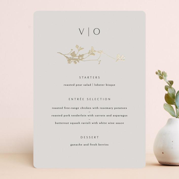 """""""Mist"""" - Foil-pressed Menus in Ivory by Kelly Schmidt."""