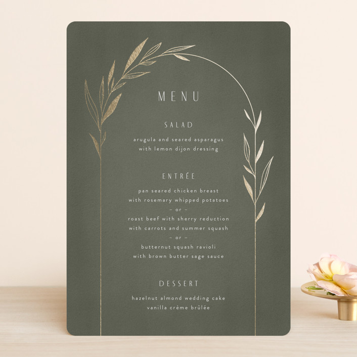 """""""Botanical Arches"""" - Bohemian Foil-pressed Menus in Moss by Kelly Schmidt."""