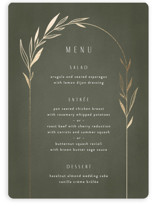 This is a green menu card by Kelly Schmidt called Botanical Arches with foil-pressed printing on signature in standard.