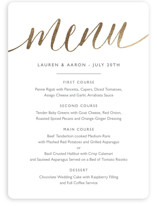 This is a yellow menu card by Erin Deegan called A Sparkly Love with foil-pressed printing on signature in standard.