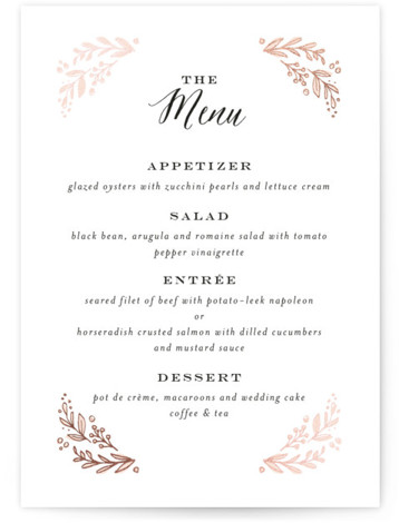 This is a portrait floral, rustic, pink, rosegold Menus by Jennifer Wick called Painted Wreath with Foil Pressed printing on Signature in Classic Flat Card format. A delicate, hand drawn floral wreath filled with a pale pink color wash brings ...