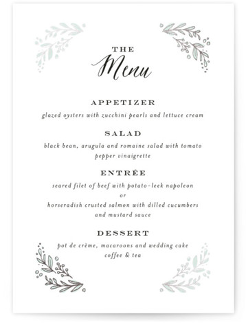 This is a portrait floral, rustic, green, silver Menus by Jennifer Wick called Painted Wreath with Foil Pressed printing on Signature in Classic Flat Card format. A delicate, hand drawn floral wreath filled with a pale pink color wash brings ...