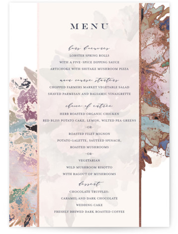 This is a portrait pink, purple, rosegold Menus by Grace Kreinbrink called Gilded Drape with Foil Pressed printing on Signature in Classic Flat Card format. Give guests a sneak peek of the meal to come with a beautiful foil pressed ...