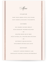 This is a beige menu card by Carolyn MacLaren called Scripted Striped with foil-pressed printing on signature in standard.