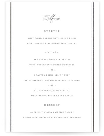 This is a grey Menus by Carolyn MacLaren called Scripted Stiped with Foil Pressed printing on Signature in Classic Flat Card format. Give guests a sneak peek of the meal to come with a beautiful foil pressed menu, hand pressed ...