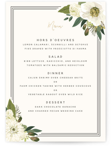 This is a gold, green, white Menus by Susan Moyal called Garden Blooms with Foil Pressed printing on Signature in Classic Flat Card format. Give guests a sneak peek of the meal to come with a beautiful foil pressed menu, ...