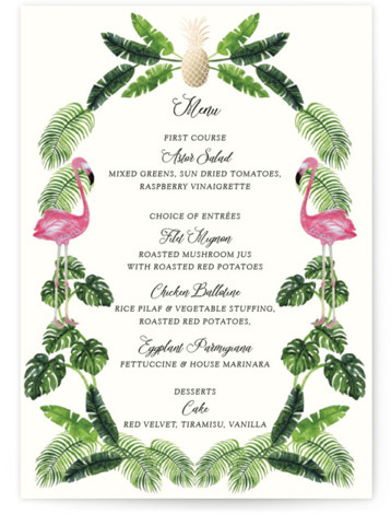 This is a pink, green, gold Menus by Elly called Tropical with Foil Pressed printing on Signature in Classic Flat Card format. A fun and kitschy tropical themed illustration painted with watercolour with a touch of gold foil for the ...