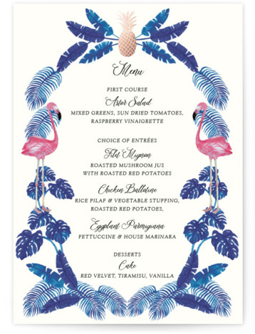 This is a blue, pink, rosegold Menus by Elly called Tropical with Foil Pressed printing on Signature in Classic Flat Card format. A fun and kitschy tropical themed illustration painted with watercolour with a touch of gold foil for the ...