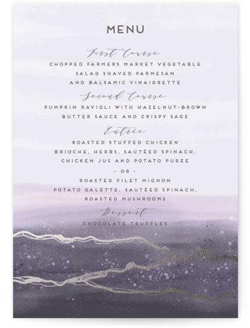 This is a purple, grey, silver Menus by iamtanya called Natural Elegance with Foil Pressed printing on Signature in Classic Flat Card format. This wedding invitation features watercolor techniques and graphic lines in elegant way.