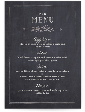 This is a portrait floral, hand drawn, vintage, grey Menus by Jennifer Wick called Alabaster Florals with Foil Pressed printing on Signature in Classic Flat Card format. Give guests a sneak peek of the meal to come with a beautiful ...