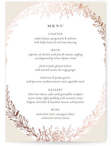 Prettiest Wreath Foil-Pressed Menus