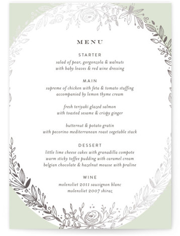 This is a portrait floral, green Menus by Phrosne Ras called Prettiest Wreath with Foil Pressed printing on Signature in Classic Flat Card format. Give guests a sneak peek of the meal to come with a beautiful foil pressed menu, ...