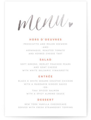 This is a portrait whimsical, pink Menus by Melanie Severin called Charming Love with Foil Pressed printing on Signature in Classic Flat Card format. Give guests a sneak peek of the meal to come with a beautiful foil pressed menu, ...