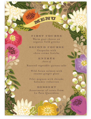 This is a portrait floral, rustic, orange Menus by Griffinbell Paper Co. called Floral Canopy with Foil Pressed printing on Signature in Classic Flat Card format. Give guests a sneak peek of the meal to come with a beautiful foil ...