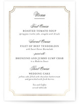 This is a gold menu card by Kimberly FitzSimons called Classy Type with foil-pressed printing on signature in standard.