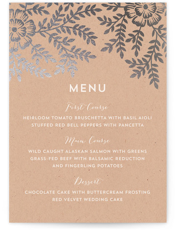 This is a portrait floral, rustic, brown Menus by Katharine Watson called Leaves and Kraft with Foil Pressed printing on Signature in Classic Flat Card format. Give guests a sneak peek of the meal to come with a beautiful foil ...