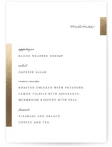 This is a white menu card by Genna Cowsert called Gallant with foil-pressed printing on signature in standard.