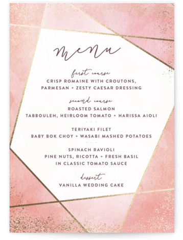 This is a portrait pink, orange, gold Menus by Hooray Creative called Amethyst Watercolor with Foil Pressed printing on Signature in Classic Flat Card format. A geometric design with handpainted background, sparkling edges and modern type.