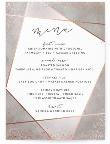 This is a portrait grey, rosegold Menus by Hooray Creative called Amethyst Watercolor with Foil Pressed printing on Signature in Classic Flat Card format. A geometric design with handpainted background, sparkling edges and modern type.