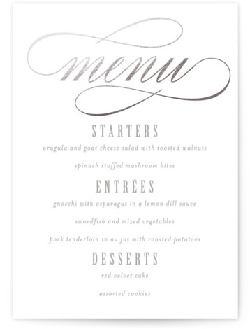 This is a portrait classical, elegant, formal, silver Menus by Lori Wemple called Mist with Foil Pressed printing on Signature in Classic Flat Card format. A modern interpretation of timeless wedding elegance