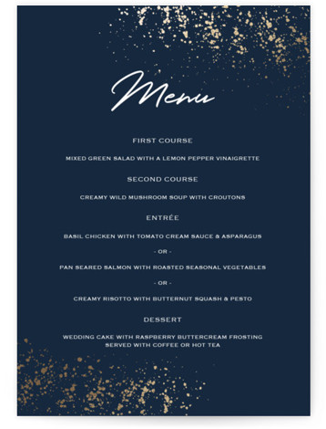 This is a blue, gold Menus by Juliana Zimmermann called Paint Splash with Foil Pressed printing on Signature in Classic Flat Card format. Give guests a sneak peek of the meal to come with a beautiful foil pressed menu, hand ...