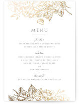 This is a gold menu card by Smudge Design called Gilded Wildflowers with foil-pressed printing on signature in standard.