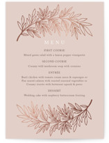 This is a pink menu card by Katharine Watson called Foiled Branches with foil-pressed printing on signature in standard.