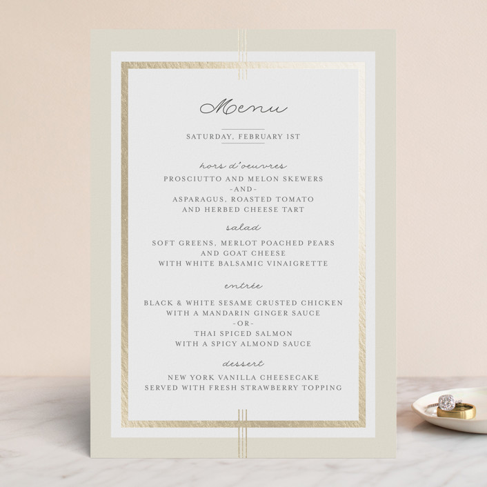 """Three Classic Lines"" - Formal, Classical Foil-pressed Menus in Barley by fatfatin."